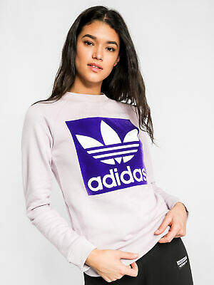 adidas New Trefoil Crew Sweatshirt In Purple Womens Sweaters & Jumpers