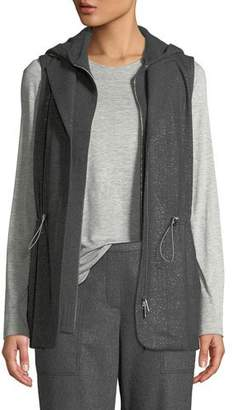 Lafayette 148 New York Sam Zip-Front Stardust Wool Suiting Combo Vest w/ Nylon Back