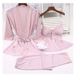 Ngjifvjishu Women Pijamas Satin Silky Pajama Set Sexy Lace Robe 3pcs Suit  with Chest Pad Lingerie baf2ac209
