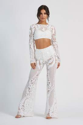 44b02437ebec Club L Womens **Baroque Geometric Sequin Trousers By White