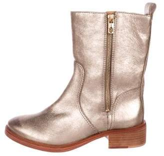 Tory Burch Metallic Leather Ankle Boots
