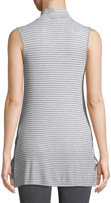 Neiman Marcus Mock-Neck Lace-Through Striped Tank