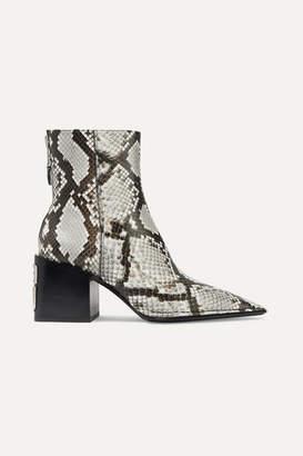 Alexander Wang Parker Logo-embellished Snake-effect Leather Ankle Boots - Snake print
