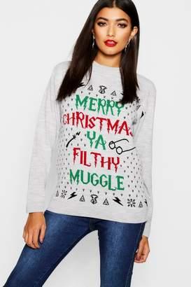 boohoo Erin Ya Filthy Muggle Christmas Jumper