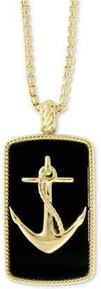 "Effy Men Onyx (12 x 9mm) Anchor 22"" Pendant Necklace in 14k Gold"