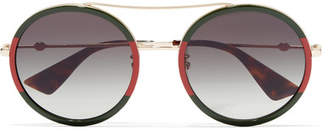 Gucci Round-frame Striped Acetate And Gold-tone Sunglasses - Red