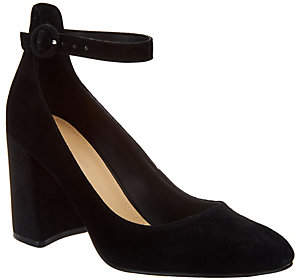 Marc Fisher Suede Pumps with Ankle Strap - Issa