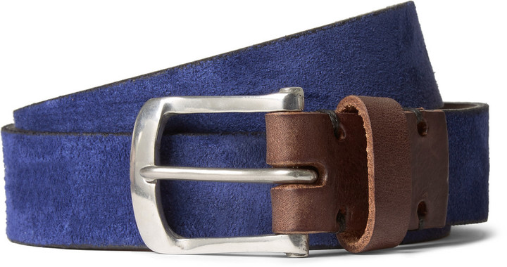 Oliver Spencer Blue 3cm Suede Belt