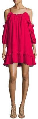 Parker Aidrian Cold-Shoulder Shift Dress, Rosy Pink $298 thestylecure.com