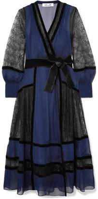 Diane von Furstenberg Forrest Velvet-trimmed Silk-chiffon And Lace Wrap Dress - Navy