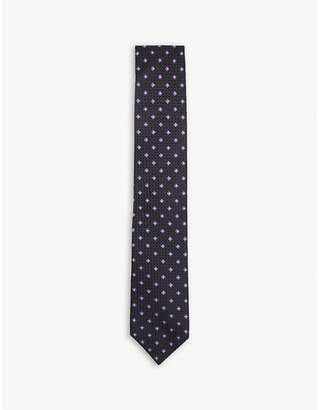 BOSS Floral waffle texture silk tie