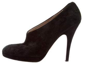 Prada Suede Pointed-Toe Booties