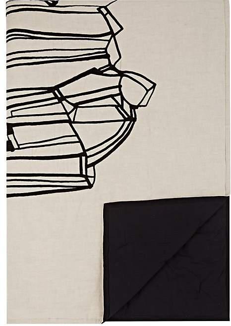 Geo Embroidered Cotton-Linen Throw