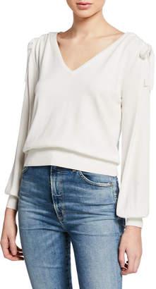 Milly V-Neck Shirred-Shoulder Long-Sleeve Pullover