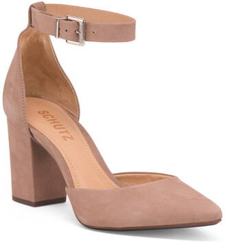 Made In Brazil Ankle Strap Suede Pumps