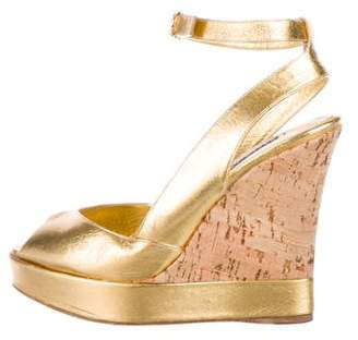 Ralph Lauren Purple Label Metallic Gold Cork Wedges