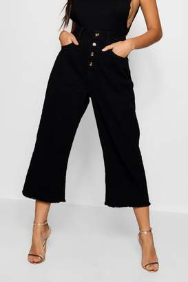 boohoo Mock Horn Button Crop Wide Leg Jean
