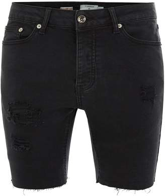Topman Black Rip Raw Stretch Skinny Denim Shorts