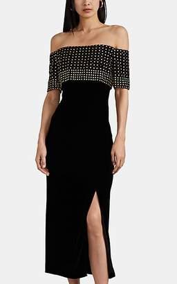J. Mendel Women's Embellished Velvet Off-The-Shoulder Gown - Black