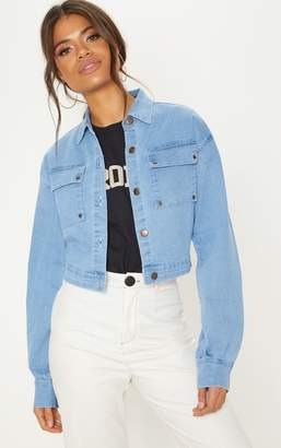 PrettyLittleThing Light Wash Oversized Cropped Trucker Denim Jacket