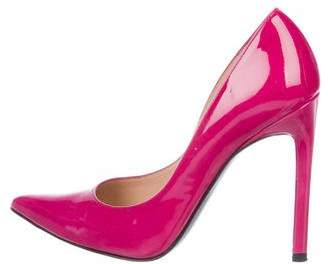 Stuart Weitzman Patent Leather Pointed-Toe Pumps