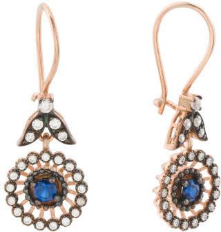 Made In Turkey Sterling Silver Cz Medallion Drop Earrings