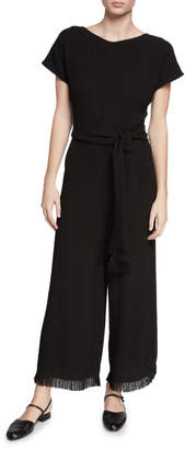 Co Wide-Leg Short-Sleeve Fringe-Cuff Jumpsuit