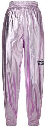 MSGM X Diadora metallic track trousers