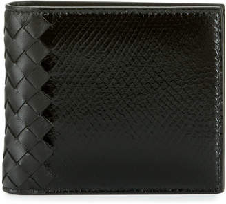 Bottega Veneta Intrecciato Leather & Snakeskin Wallet, Black