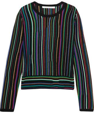 Diane von Furstenberg - Arisha Striped Knitted Sweater - Black $250 thestylecure.com