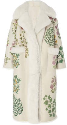 Oscar de la Renta Ivory Dyed Lamb Shearling Coat