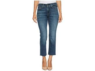 NYDJ Petite Petite Marilyn Straight Ankle Jeans w/ Raw Hem in Crosshatch Denim in Desert Gold Women's Jeans