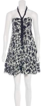 Marchesa Embellished Halter Dress