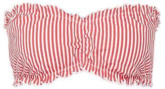 Solid & Striped 'The Audrey' ruffle stripe seersucker bandeau bikini top