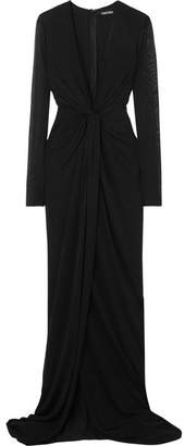 Tom Ford Twist-front Stretch-jersey Gown - Black
