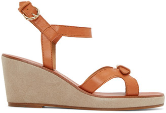 A.P.C. Tan Leather Patty Sandals $425 thestylecure.com