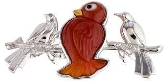 18K Carnelian Birds Brooch