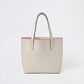 River Island Girls gold RI logo tote bag
