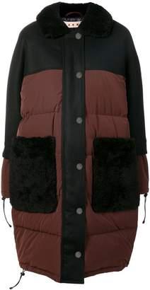 Marni shearling collar padded coat