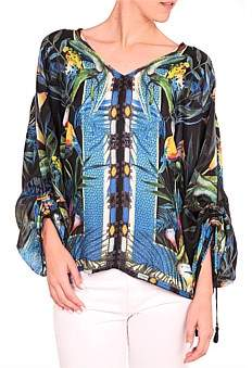 Johnny Was Jungle Print Batwing Blouse
