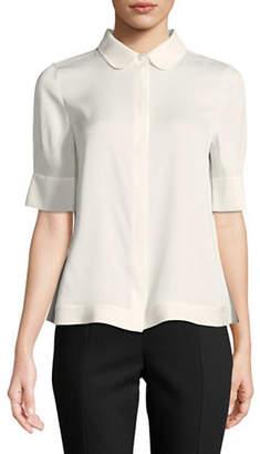 Emporio Armani Silk-Blend Short-Sleeve Blouse