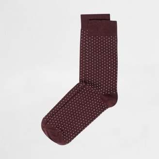 River Island Mens Red polka dot socks
