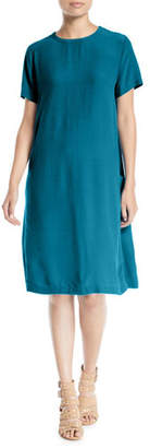 Eileen Fisher Tencel/Viscose Crepe Side-Pocket Shift Dress, Plus Size