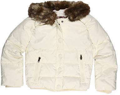 Juicy Couture Kids L/S Fur Trimmed Hood Swing Puffer Coat (Big Kids)