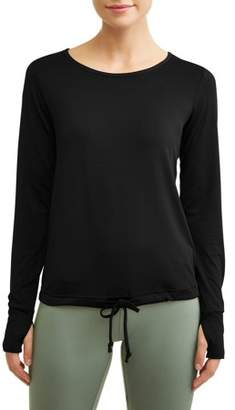 Cascade Blue Women's Active Drawstring Waist Performance Sweatshirt