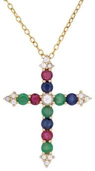 Lord & Taylor White Sapphire, Sapphire, Ruby, Emerald and 14K Gold Cross Pendant Necklace