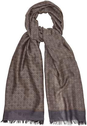 Reiss Our last order date for Christmas has now passed ROGER GEOMETRIC PATTERNED SCARF Brown