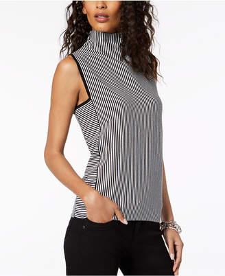 INC International Concepts I.n.c. Striped Sleeveless Funnel-Neck Top, Created for Macy's