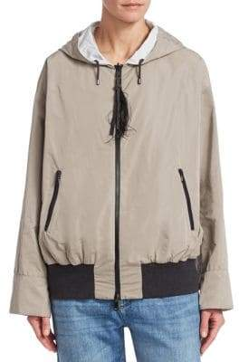 Taffeta Reversible Feather Pull Jacket