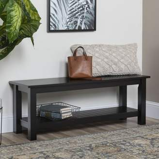 Walker Edison Country Entry Bench with Slatted Shelf - Black